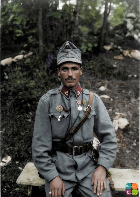 A colorized photo of Károly Szigeti, an artilleryman in the Austro-Hungarian 5th Army on the Iszono Front in 1915.