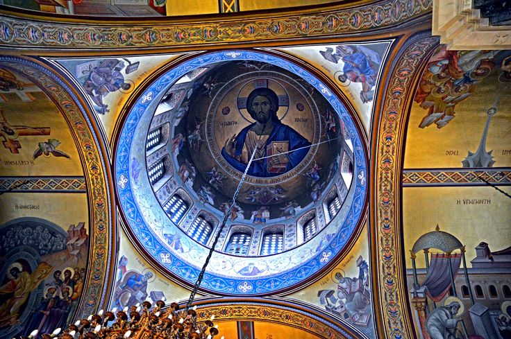 Thessaloniki Panagia Dexia Christ Cupola at Transepts Crossing