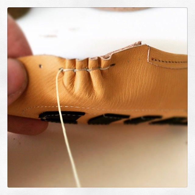 Moccasin stitch #shoemaking #shoedesign #babyshoes #babies #marcellmrsan
