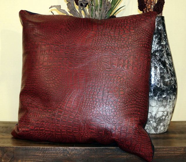 Red Alligator Leather Pillow Leather Throw Pillows Throw Pillows Pillows