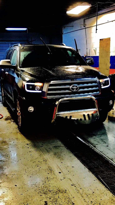 Toyota sequoia plantinum led bar headlights and grill guard custom