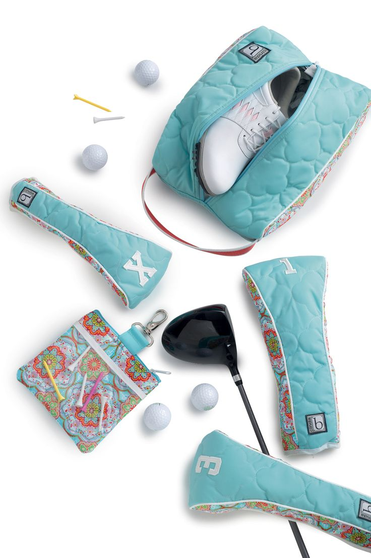 cinda b Golf Suite (Shoe bag $45.00, Golf Head Covers $94.00, and Tee Pouch $35.00) in Casablanca Sky Blue