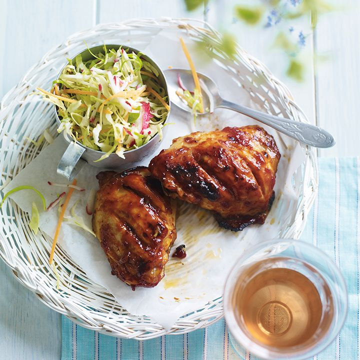 Try this quick recipe of barbecued chicken and simple slaw. Find more delicious barbecue recipes on the Waitrose website