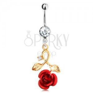 Piercing z chirurgickej ocele do bruška, červená ruža, zahnutá stonka
