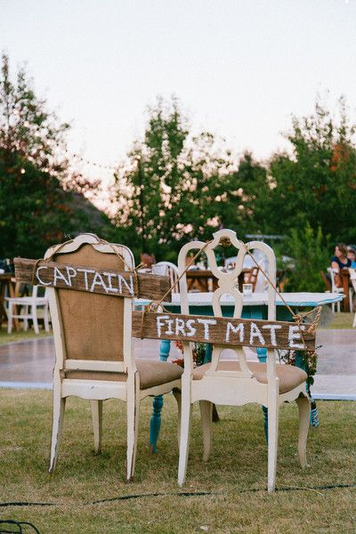 Rustic Nautical-inspired reception wedding chair signs