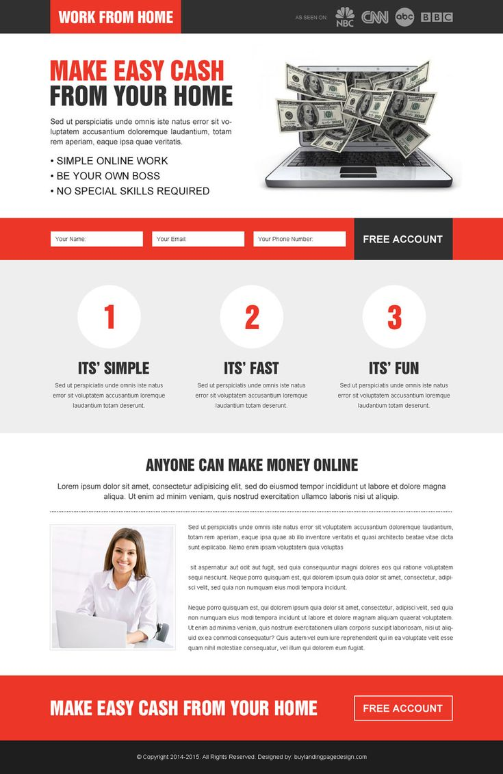 Converting Work From Home Responsive Lead Capture Landing Page Design To  Increase Conversion And Response Rate Part 98
