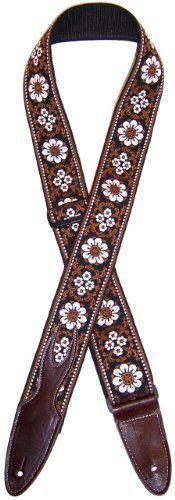"""Guitar Strap 2"""" Hoot #47 Black w/ Brown Western w/ Slide Buckle by Jodi Head. $34.00. 2"""" SLDIE W BUCKLE WESTERN BROWN JAQUARD WOVEN FLAME ENDS"""