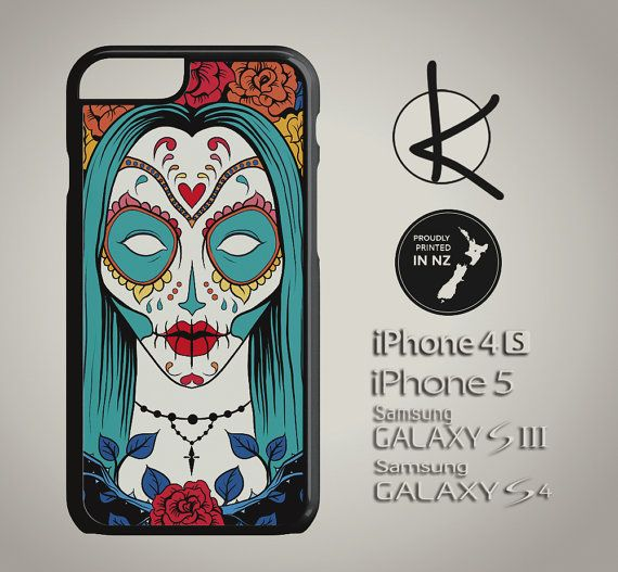Sugar Skull Woman Green  iPhone 4/4S 5/5S 6 and by Kultured