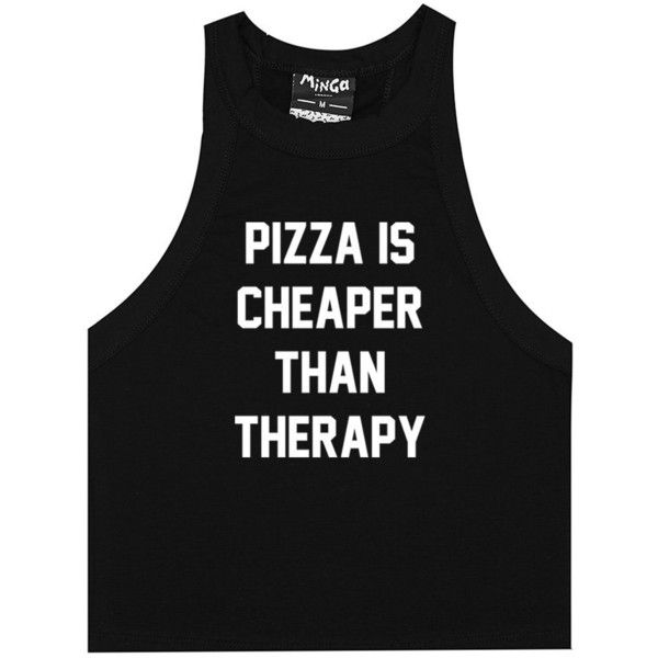 PIZZA THERAPY TANK TOP ($20) ❤ liked on Polyvore featuring tops, goth crop top, gothic tops, black and white crop top, cut-out crop tops and baby doll tank tops