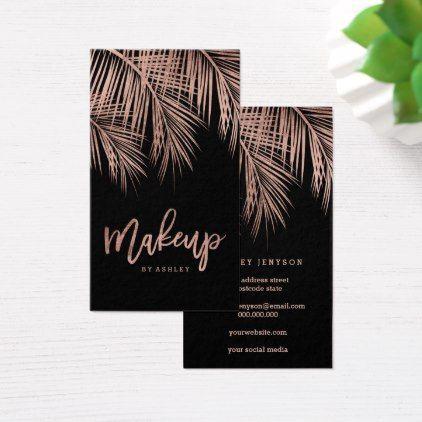 Makeup typography rose gold palm tree leaf black business card makeup typography rose gold palm tree leaf black business card faux gifts style sample design colourmoves