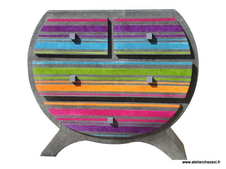 La Commode en carton Heden Arc-en-ciel - Créer ses meubles en carton