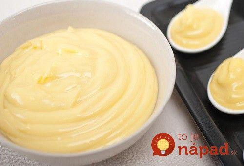 Krupicový krém do pečených aj nepečených dezertov 2 šálky mlieka 4 lyžice krupice 2 a ½ lyžice kryštálového cukru 100 g masla 1 bal vanilkového cukru 1 žĺtok