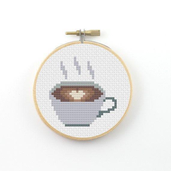 Coffee Cross Stitch pattern, coffee pattern, coffee heart pattern, coffee mug, counted cross stitch, coffee pdf pattern, cross stitch pdf – Carrie O'Hara