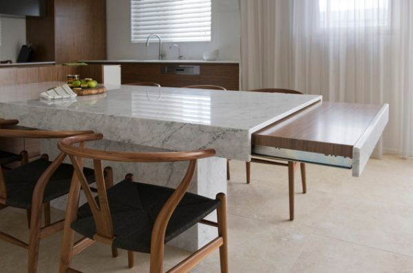 kitchen island with slide out table | An extendable table is great when extra guests come over and join you ...