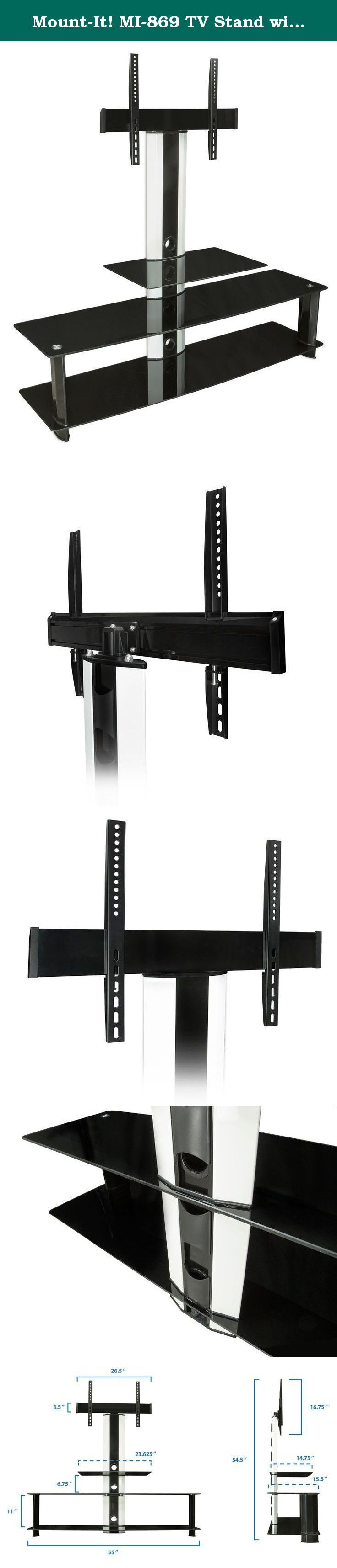 Mount-It! MI-869 TV Stand with Mount, Entertainment Center for Flat Screen TVs Between 32 to 60 Inch, 3 Glass Shelves and Aluminum Columns, VESA Compatible TV Mount, Black/Silver. Mount-It! MI-869 contemporary TV mount and media component stand combo features three beautiful black silk tempered glass shelves with spacious shelving for all of your surround sound system components, Blu-ray player, game consoles, cable box and place other media components. The built-in TV mount is VESA...