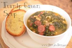 Turnip Green Soup is so easy, delicious, and hearty for the cold weather! Pretty healthy, too :D