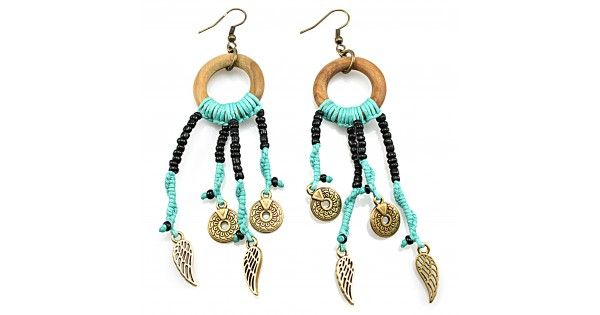 Earrings with glass beads, wood and metal decorative elementsLength 11 cm