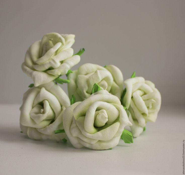 """Купить Набор шпилек с розами """"Зеленоглазое чудо"""" - белый, шпильки для волос, шпильки с цветами"""