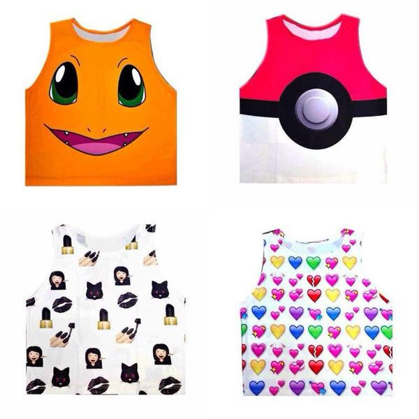 Pokemon Emoji Crop Top ($9.64) ❤ liked on Polyvore featuring tops, black, women's clothing, crop top, black crop top and black top