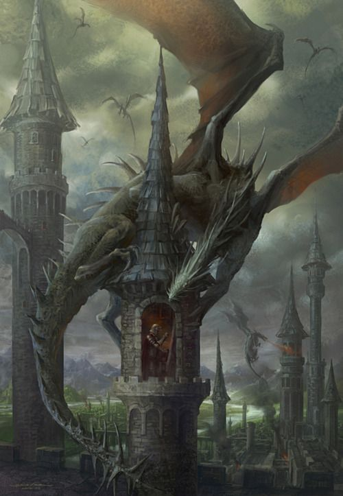 """Dragons rain down destruction, Knight paints in a tower. """"Hey, watcha doing in there little guy?"""""""