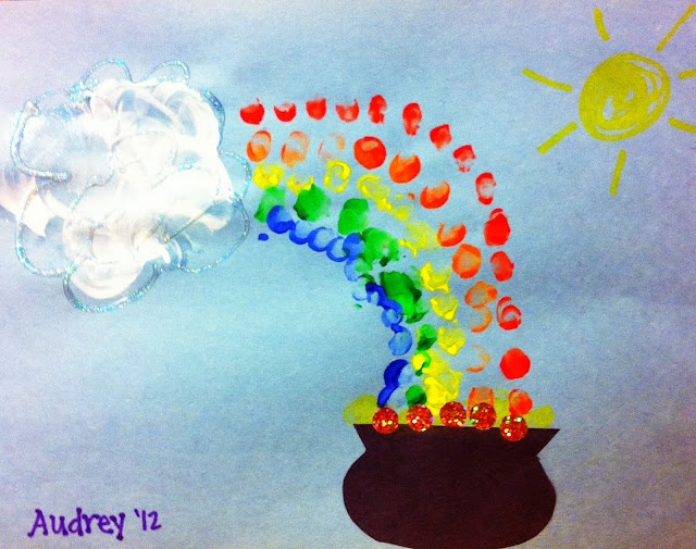 St. Patrick's Day kid's craft. Baby fingertips paint the rainbow. love, kerry