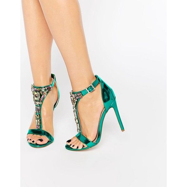 ASOS HEIGHTEN Embellished Heeled Sandals ($81) ❤ liked on Polyvore featuring shoes, sandals, green, heeled sandals, metallic heel sandals, open toe sandals, embellished sandals and green high heel shoes