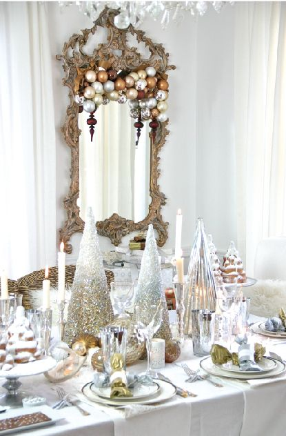 Winter, Christmas, New Years, Wedding? Gorgeous layered luxe table in silver, golds and wonderful whites! Trenna Travis Design Studio
