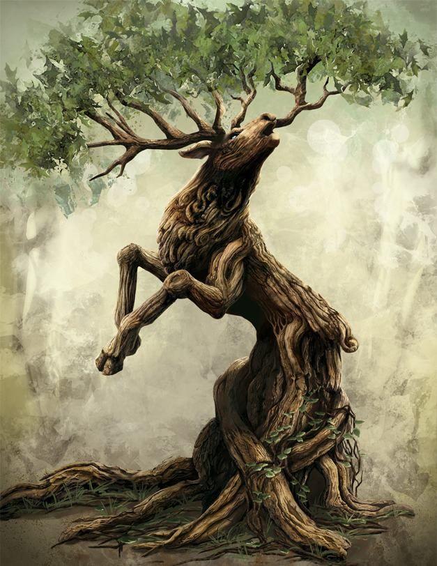 "Druids Trees:  #Tree #Stag, Melanie Miklitza   Cover illustration for Jim Butcher's ""Codex Alera."""