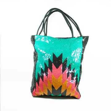 Aztec Sequin Tote Bag fabbody, wearables, gabrielle hoffman