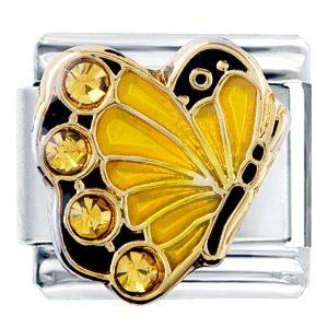Pugster November Topaz Color Crystal Butterfly Birthstone Insect Animal Italian Charm Pugster. $5.98. Hole size is approximately 4.8 to 5mm. Unthreaded European story bracelet design. Pugster are adding new designs all the time. Made of Bling Crystal. Fit Pandora, Biagi, and Chamilia Charm Bead Bracelets