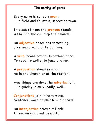 Poem To Remember What Nouns, Adverbs Etc Are