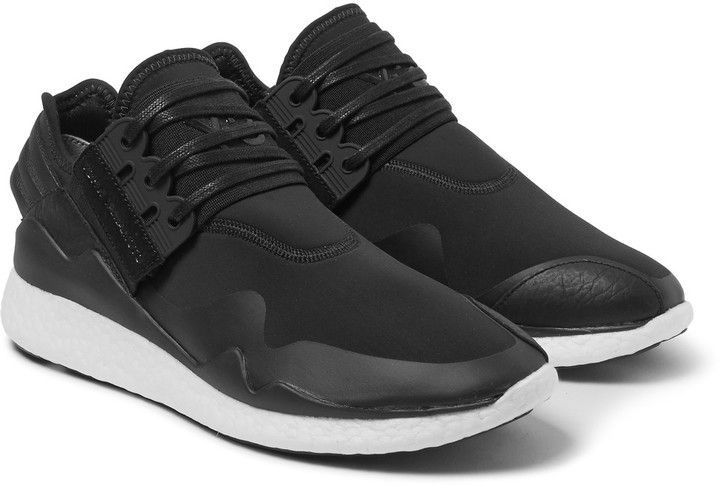 Y-3 Retro Boost Leather-Trimmed Neoprene Sneakers