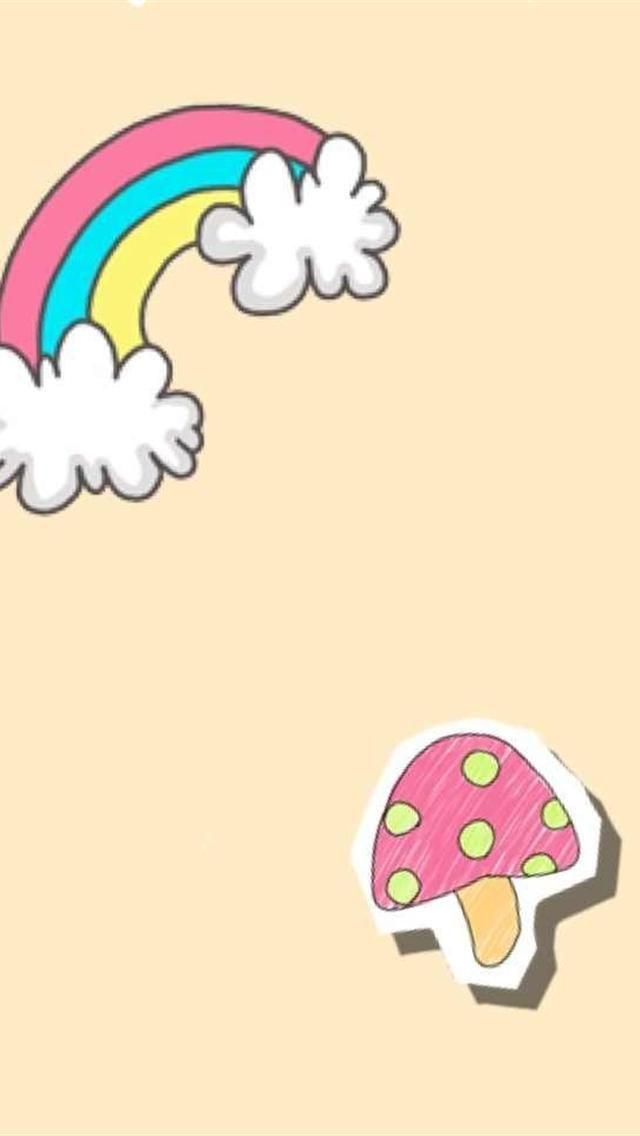 cartoon mushroom and rainbow iphone 5 backgrounds download