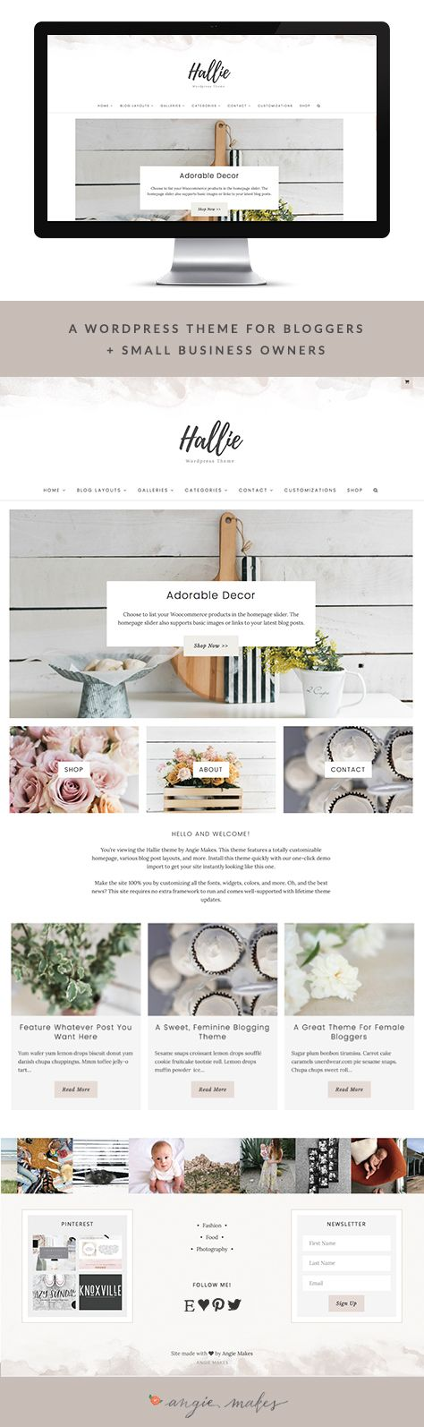 The Hallie Feminine Wordpress Theme by Angie Makes features a calming, neutral color palette, subtle watercolor elements, and tons of great features. This web design Wordpress theme is perfect for bloggers + small Business owners.
