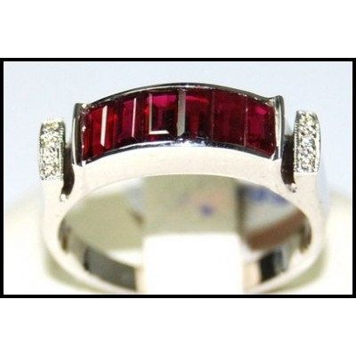 Diamond and For Men Ruby Ring Unique 18K White Gold by BKGjewels