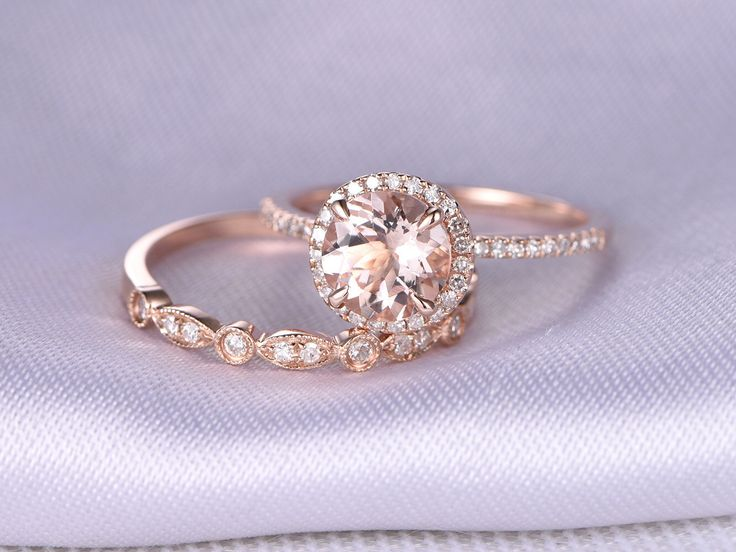 2pcs Wedding Ring Set,Morganite Engagement Ring,14k Rose Gold,Art Deco  Diamond