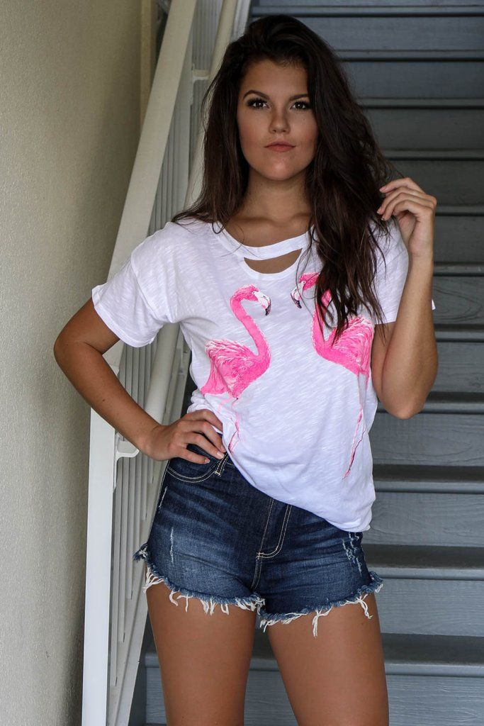 Birds Of A Feather White Flamingo Top - Amazing Lace