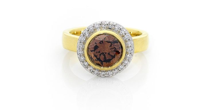 Natural Cognac Colour Round Brilliant Diamond in Yellow Gold Bezel Setting with White Diamond Halo and Yellow Gold Band