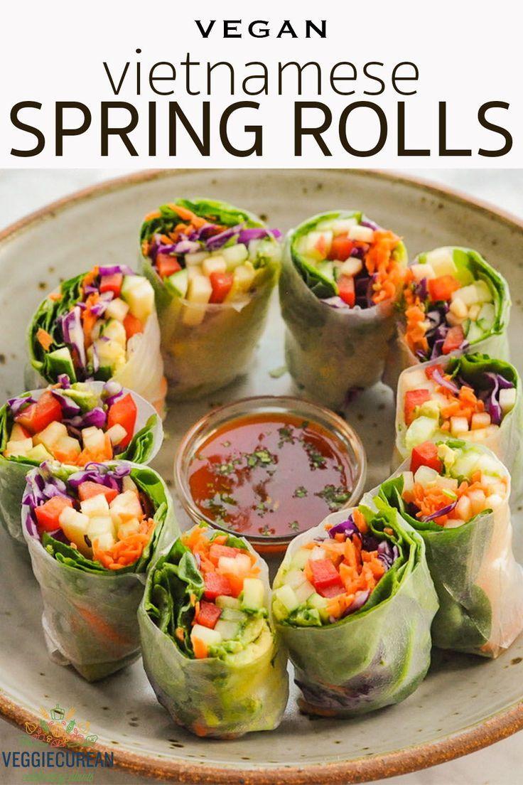Vegan Vietnamese Spring Rolls Veggiecurean Recipe In 2020 Vegan Spring Rolls Veggie Spring Rolls Vietnamese Spring Rolls