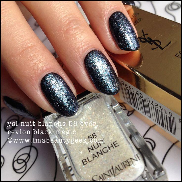Revlon Black Magic: Ysl Nuit Blanche 58 (two Coats) Over My Ocw Revlon Black