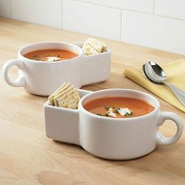 I think these are a great idea!  Tomato soup and saltines are an American tradition, comfort food!  I want these mugs!!  Would make great gifts too!