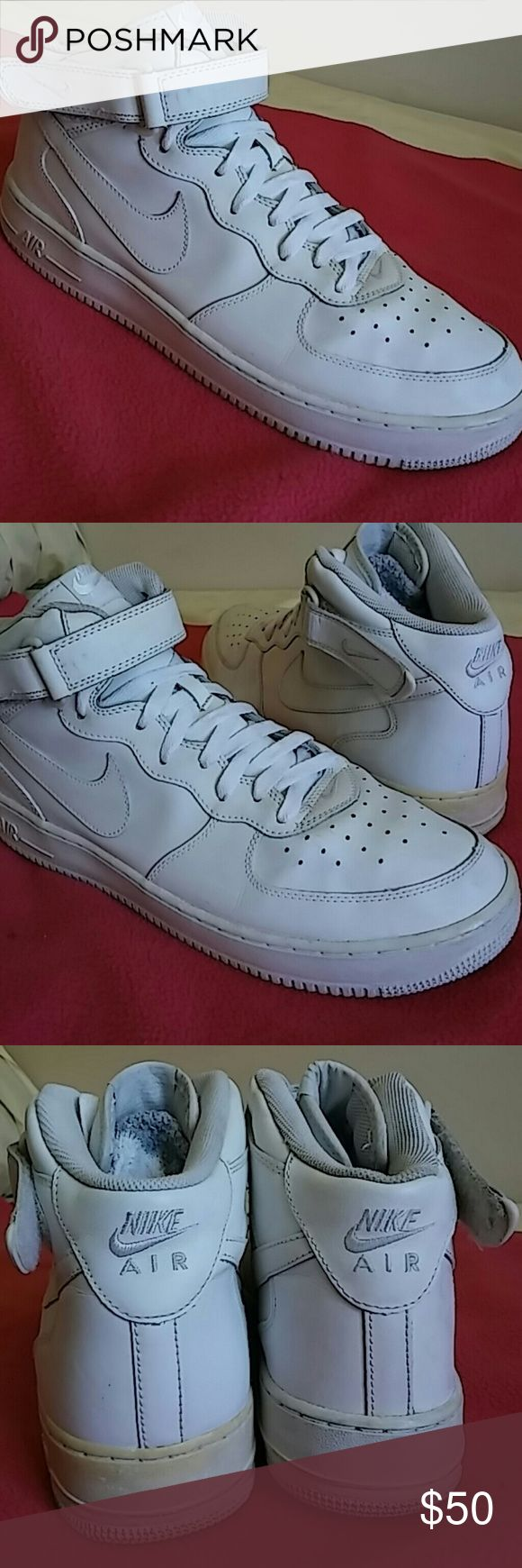 Nike Air Force 1...SIZE 13 A very great shoes that shows signs of used but in great shape. Leather and sole both intact with the left shoes showing some yellowing around soles. Shoes is rated 8/10. Nike Shoes Sneakers