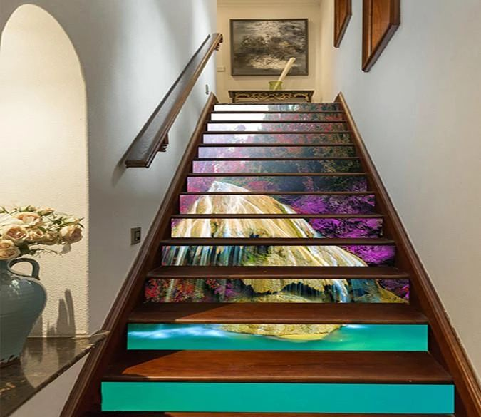 25 Pretty Painted Stairs Ideas: 3D Pretty Rock Waterfalls 813 Stair Risers