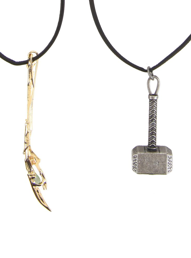 "<p>Black cord necklace set from Marvel's <i>Avengers</i> with Thor & Loki themed pendant designs.</p>  <ul> 	<li>20"" long</li> 	<li>Imported</li> </ul>"
