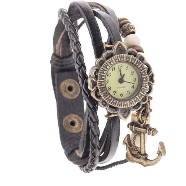 Best Quality Vintage Style Ladies Quartz Wrist Watch With Genuine Leather Band Bracelet In Black Color, Braided Strap, Retro Beads And Anchor Bronze Colored Shaped Charm Pendant Dangle By VAGA found on Polyvore featuring jewelry, watches, anchor charm bracelet, black bead bracelet, charm bracelet, black bracelet and black leather bracelet