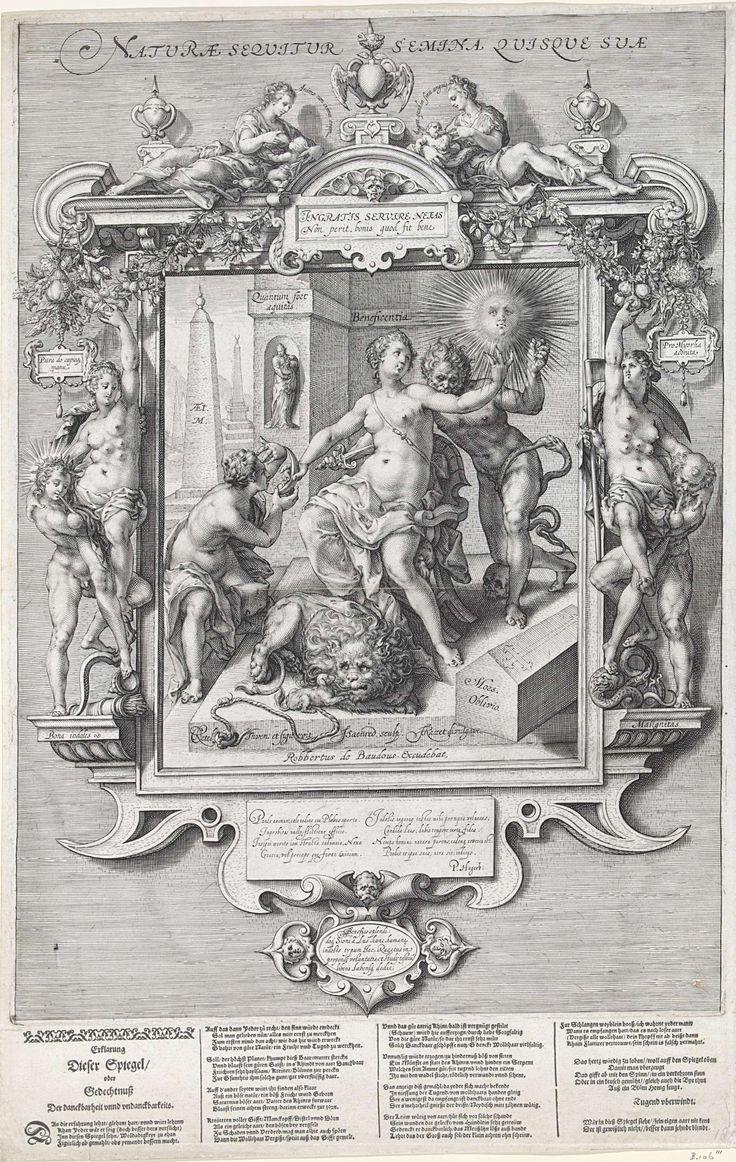 Jan Saenredam | Allegorie op de menselijke aard, Jan Saenredam, Petrus Hogerbeets, Robert de Baudous, 1610 - 1648 | Beneficentia, de personificatie van weldadigheid, zit op een stoel en wordt van achteren neergestoken door het kwaad in de gedaante van een naakte man. Een knie van de man leunt op een schedel en een slang, die in zijn eigen staart bijt als symbool van eeuwigheid, hangt rond zijn rechterbeen. Rechts staat een doodskist met het opschrift: Mors Oblivio. Met haar linkerhand geeft…