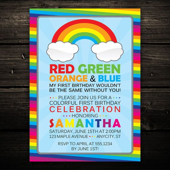 Colorful Rainbow Birthday Party Invitation -- PRINT YOUR OWN -- Any Color on Etsy, $12.99