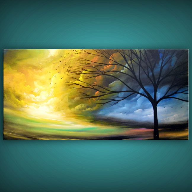 Art painting abstract landscape tree painting abstract art 24 x 48. $350.00, via Etsy.