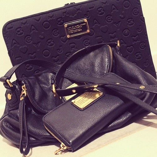 Marc by Marc Jacobs Zip Around Wallet, Classic Q Natasha Bag, and Dreamy Logo Laptop Case