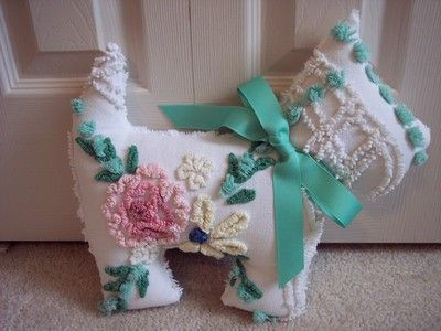 "Pink Green Cabin Craft Flower Dog Pillow Vintage Chenille Bedspread 12x14"" Toy 
